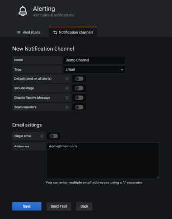 Abb. 5: Einrichten eines Notification Channels in Grafana. © Grafana