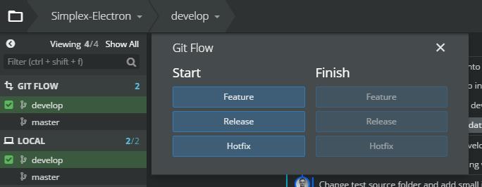 Abb.6: Die Git-Flow-Toolbar innerhalb von GitKraken (linke Menüleiste). © Florian Deitelhoff